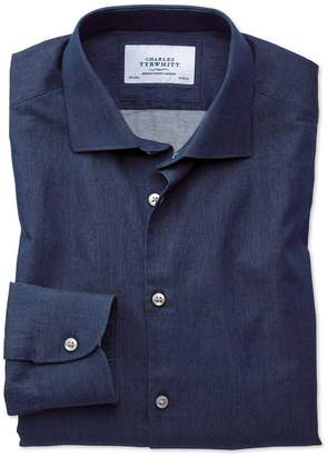Charles Tyrwhitt Extra Slim Fit Semi-Spread Collar Business Casual Indigo Dark Blue Cotton Dress Shirt Single Cuff Size 15/32