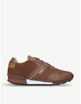HUGO BOSS BOSS BY Parkour mixed leather and nylon trainers