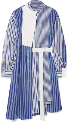 Sacai Asymmetric Striped Cotton-poplin And Piqué Dress - Blue
