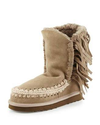 Mou Eskimo Fringe Suede Boots, Light Tan