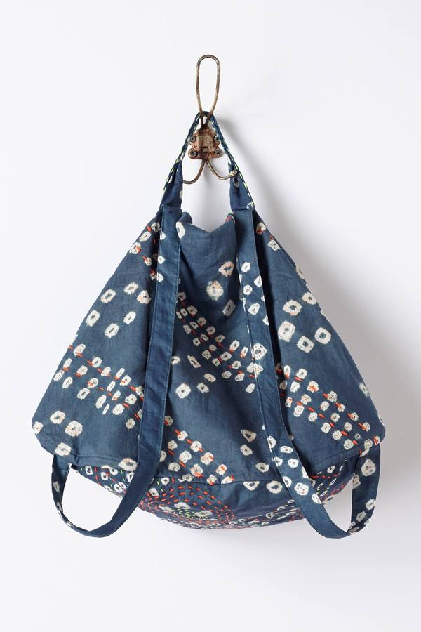 Anthropologie Bluma Project Embroidered Chambray Backpack