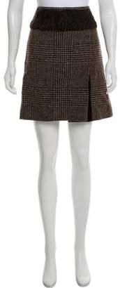 Dolce & Gabbana Fur-Trimmed Wool Skirt Beige Fur-Trimmed Wool Skirt