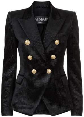 Balmain Double-Breasted Velvet Blazer