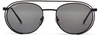 Salvatore Ferragamo SF169S Matte Black Round Sunglasses