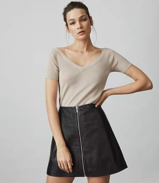 Reiss Rosina KNITTED SHORT-SLEEVED TOP Apricot
