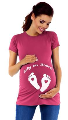 Zeta Ville Fashion Zeta Ville - Womens Maternity t-shirt top funny Baby on Board imprint - 199c (
