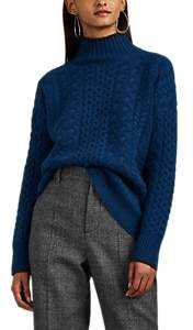 Barneys New York Women's Mixed-Stitch Cashmere Mock-Turtleneck Sweater - Blue
