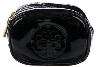 Tory Burch Logo Monogram Patent Leather Zip Pouch