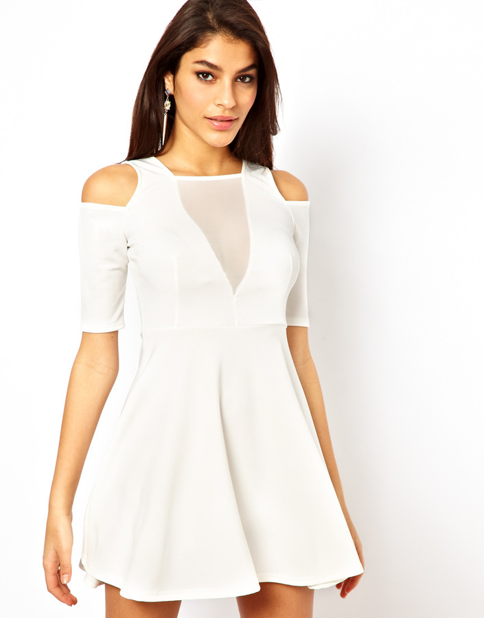 TFNC Skater Dress With Mesh Insert
