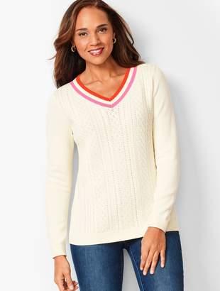 Talbots Pointelle V-Neck Sweater