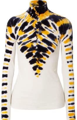 Proenza Schouler Tie-dyed Stretch-velvet Turtleneck Top - Yellow