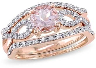 Tangelo 4/5 Carat T.G.W. Morganite and 1/4 Carat T.W. Diamond 10kt Rose Gold Infinity Three-Piece Bridal Set