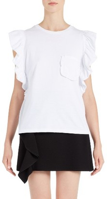 Women's Msgm Ruffle Sleeve Tee $160 thestylecure.com
