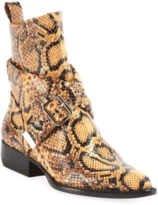 Chloé Rylee Python-Embossed Belted Booties