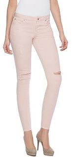 Women's Jennifer Lopez Ripped Pink Skinny Jeans $58 thestylecure.com