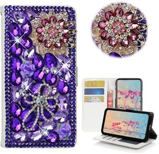 HTC Desire 626/626s Case,Yaheeda 3D Handmade Wallet Bling Crystal PU Leather with Sparkle Diamond Flower Butterfly Design Card Holder Flip Case Folio Cover for Desire 626