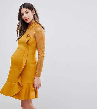 Asos Delicate Lace & Scuba Ruffle Shift Mini Dress