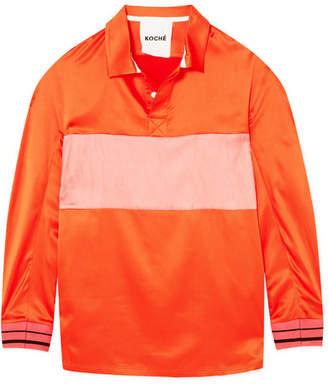 Koché Striped Satin Shirt - Bright orange
