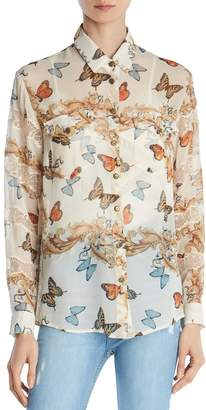 The Kooples Butterfly-Print Silk Shirt