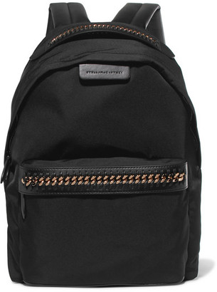 Stella McCartney - Falabella Faux Leather-trimmed Shell Backpack - Black $770 thestylecure.com