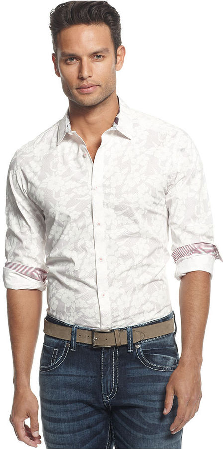 INC International Concepts Shirt, Barking Slim Fit Floral Print Shirt