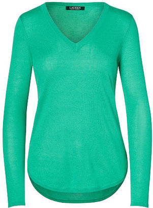 Ralph Lauren Lauren Silk-Blend V-Neck Sweater $89.50 thestylecure.com