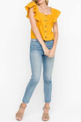 Lush Ruffle-Sleeve Top, Mustard