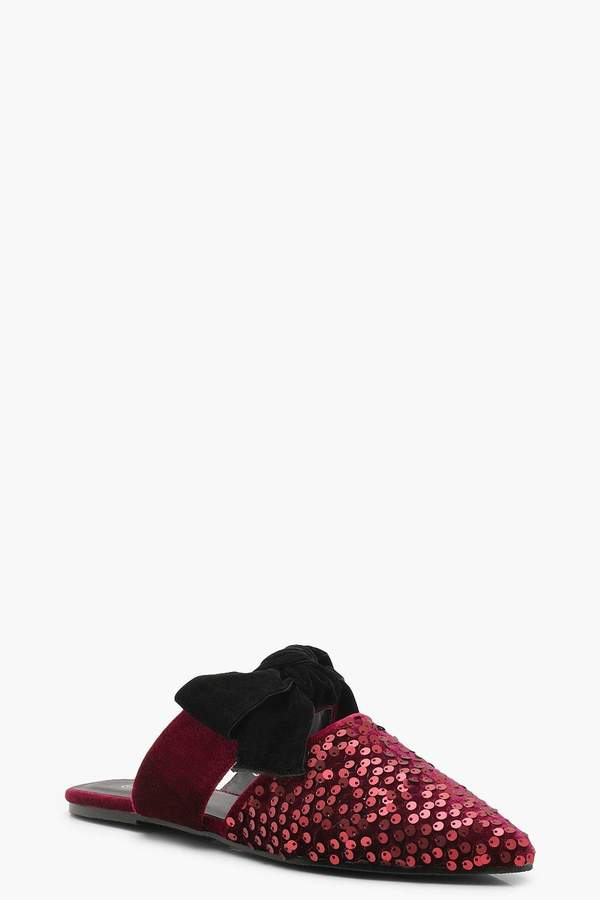 boohoo Velvet Sequin Pointed Bow Mules