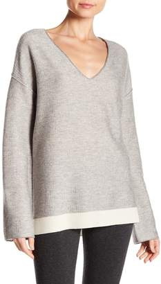 ATM Anthony Thomas Melillo Wool Blend Ribbed V-Neck Sweater