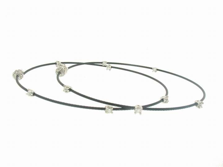 Joannes Treasure Hunt Braided Oxidized Silver Hoops with Diamonds