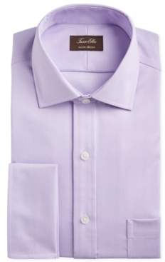 Tasso Elba Men's Slim-Fit Non-Iron Supima Small Herringbone French Cuff Dress Shirt, Created for Macy's