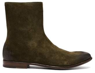 Alexander McQueen Leather And Suede Degrade Boots - Mens - Khaki