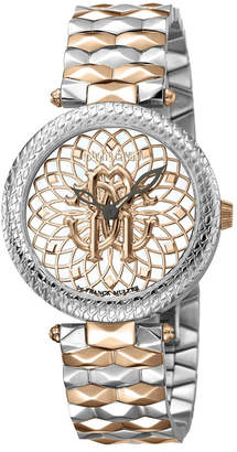 Roberto Cavalli By Franck Muller Women Swiss Quartz Mother of Pearl and Floral Design Dial Two-Tone Rose Gold Stainless Steel Bracelet Watch, 34mm