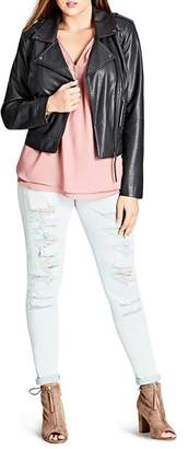 City Chic Plus Whipstich Faux-Leather Biker Jacket