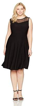 Julian Taylor Women's Plus Size Full Figured Illusion Ottoman Fit and Flare Dress