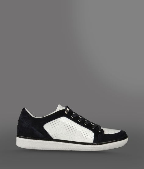 Emporio Armani Two-Color Sneaker In Patent Leather And Suede