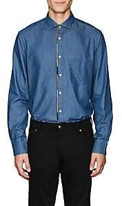 Paul Smith Men's Striped-Placket Cotton Chambray Shirt - Blue