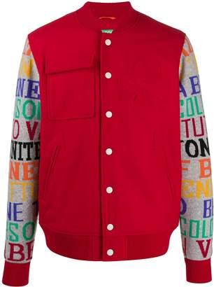 Benetton printed sleeve bomber jacket