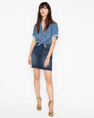 Express High Waisted Denim Perfect Stretch+ Mini Skirt