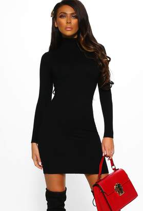 Pink Boutique Sweet Slay Black Soft Stretch Turtleneck Jumper Dress