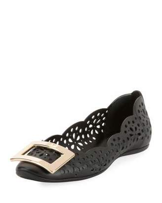 Roger Vivier Gommette Perforated Calf Leather Ballet Flat with Metal Buckle