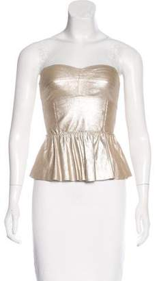 Rebecca Taylor Leather Strapless Top