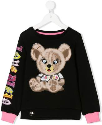 Philipp Plein Junior gem embellished teddy sweatshirt