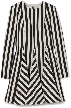 Valentino Striped Wool And Silk-blend Mini Dress - Black