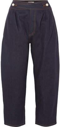 Fendi Cropped High-rise Wide-leg Jeans - Dark denim