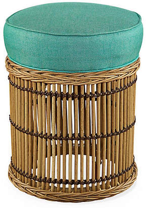 Lane Venture CELERIE KEMBLE FOR Rafter Round Ottoman - Turquoise Sunbrella