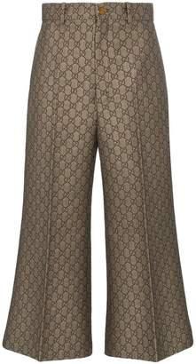Gucci GG jacquard wide leg cotton wool blend trousers