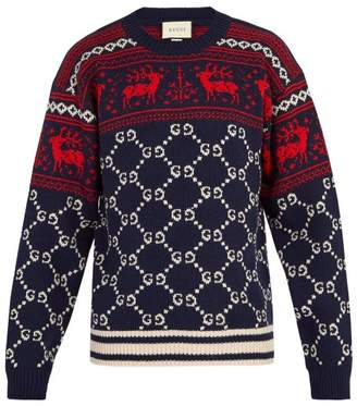 Gucci - Gg Reindeer Wool Sweater - Mens - Blue
