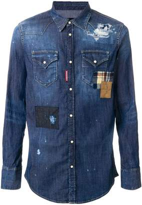 DSQUARED2 distressed denim patchwork shirt