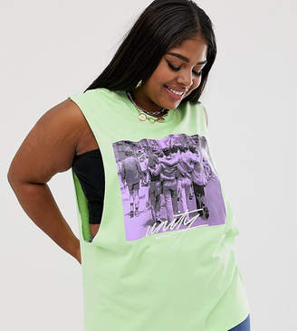 Asos DESIGN x glaad& Curve tank with photographic and tour print